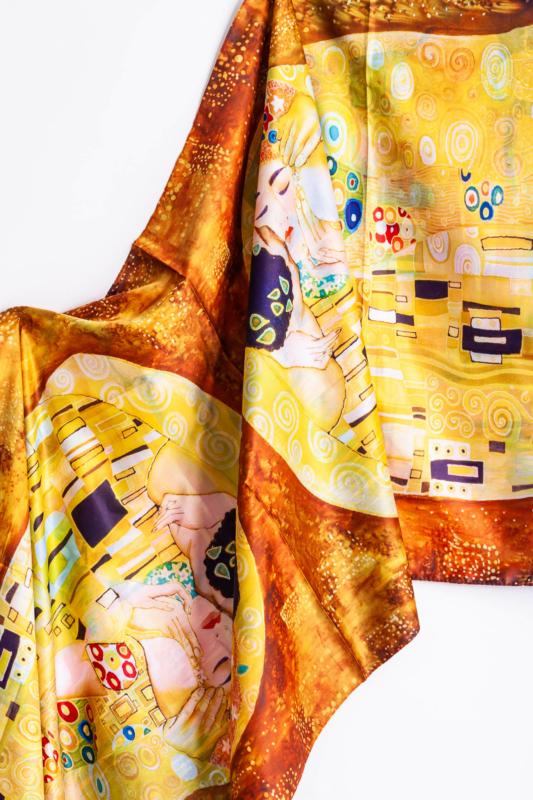 Két Oldalú Színes Selyem Hatású Vékony Sál Klimt Mintával
