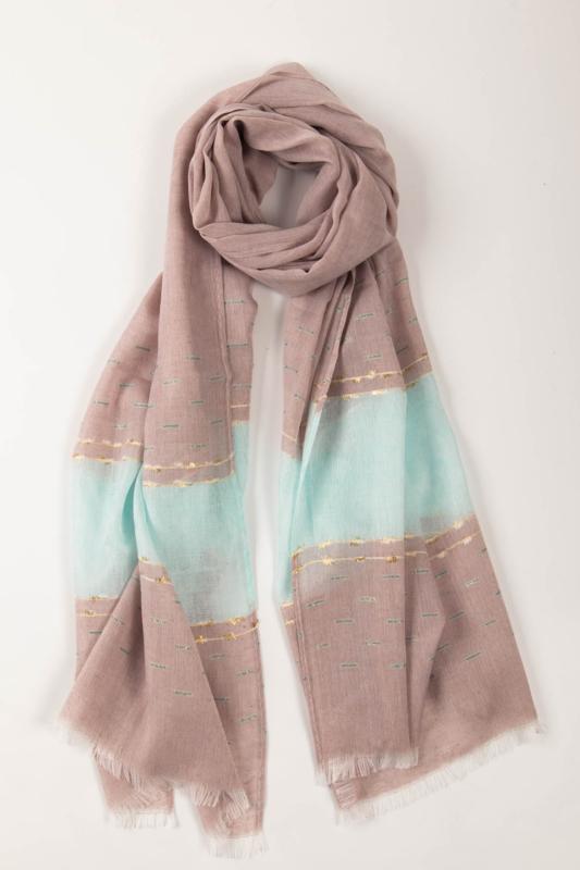 Lila És Türkiz Geometriai Mintás Aranyszállal Díszített Vékony Textil Sál