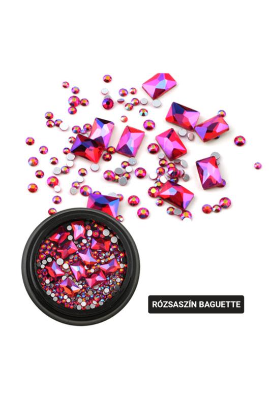 Nagy Téglalap Alakú Rózsaszín Köröm Strasszkő Válogatás 10db+150db kis kő