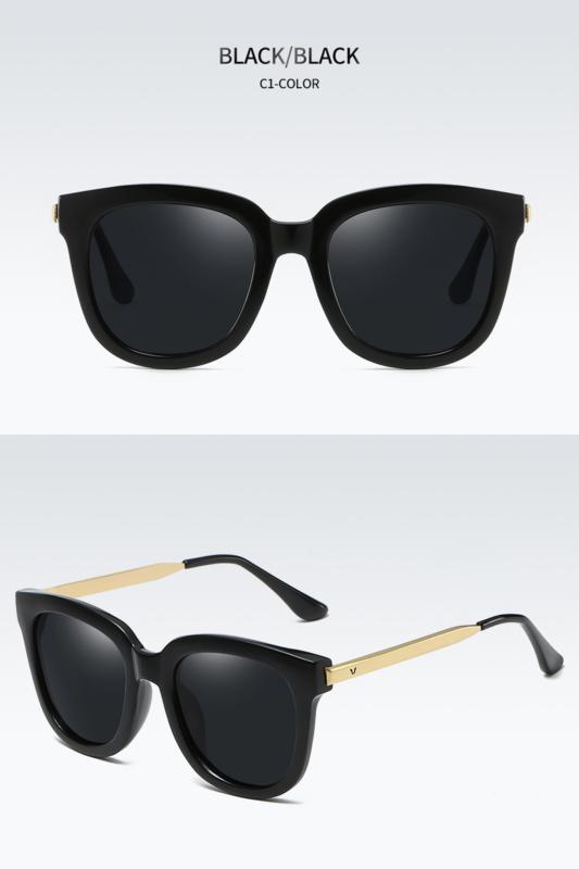 A&ONE Fekete Színű Nagy Méretű Kerekített Női Napszemüveg Arany Szárral