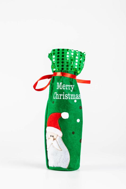Zöld Mikulásos Karácsonyi Bortartó Ajándék Tasak, 8,5 cm x 30 cm