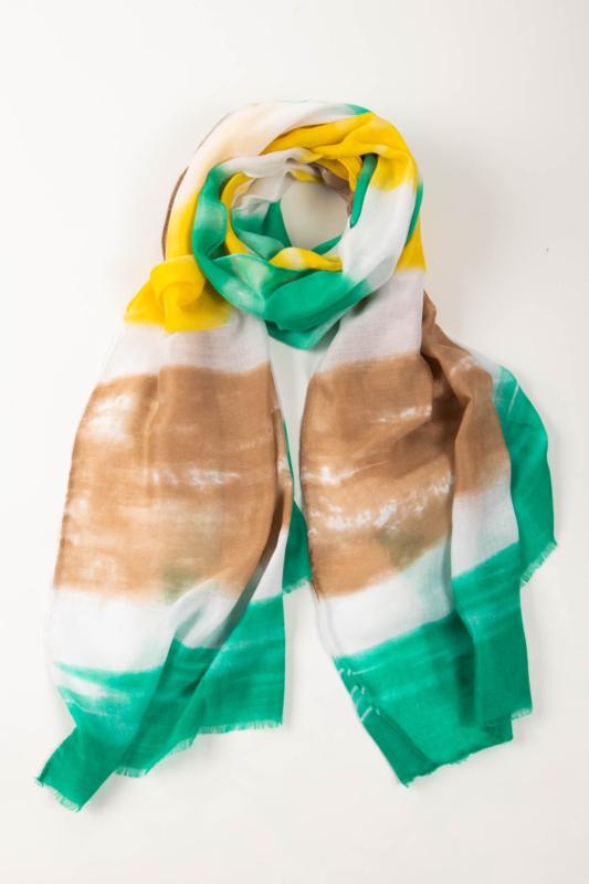 Zöld, Sárga Fehér És Barna Színű Textil Kendő