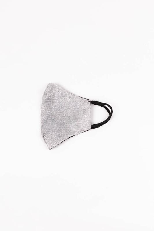 Ezüst Színű Csillogó 2 Rétegű Textil Szájmaszk