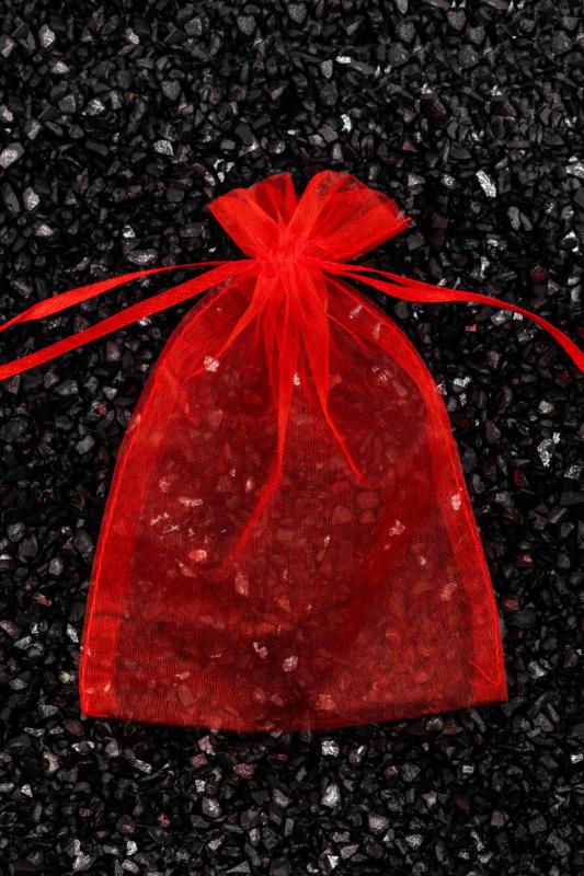 Piros Áttetsző Ajándék Tasak, 15 x 10,5 cm