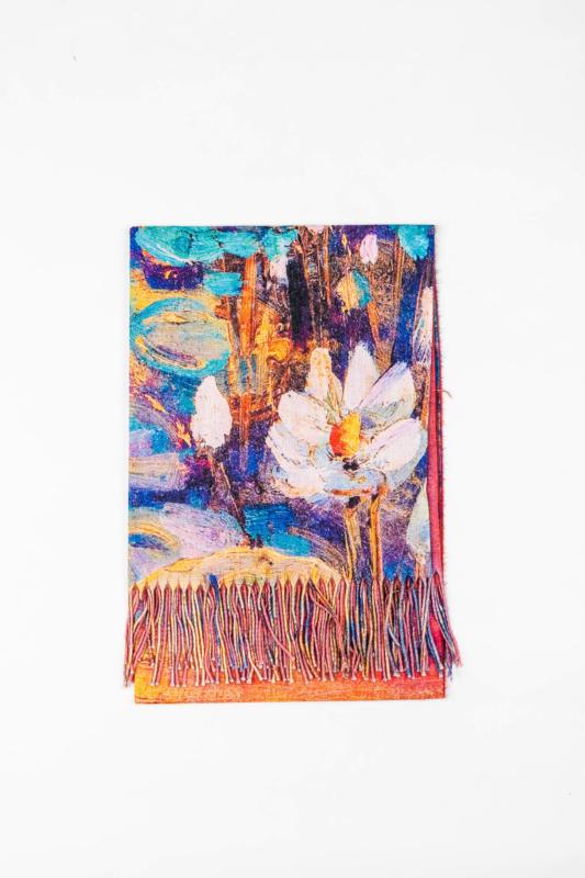 Színes Sál Van Gogh Mintával Alján Rojtokkal