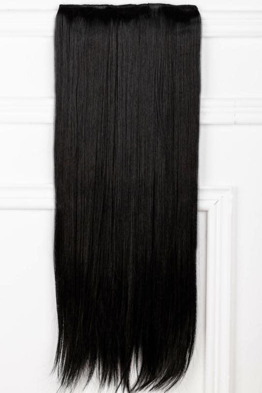 A & ONE Fekete Egyenes Csatos Póthaj 70 cm
