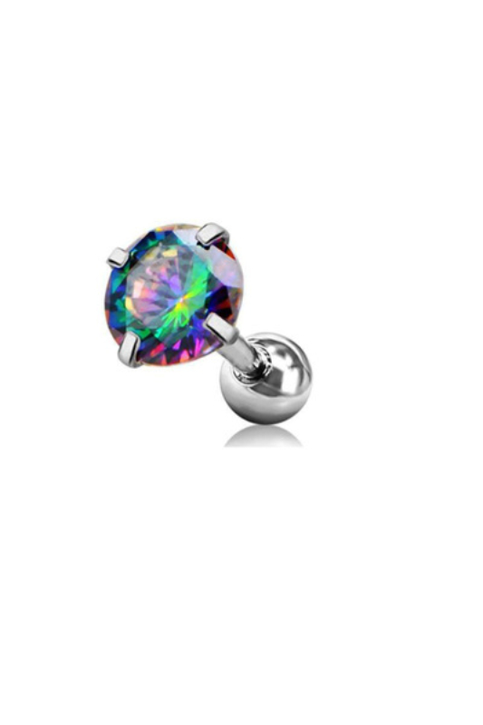 A & ONE Ezüst Színű Rozsdamentes Acél Piercing Színjátszós Cirkónia Kővel, 6 mm