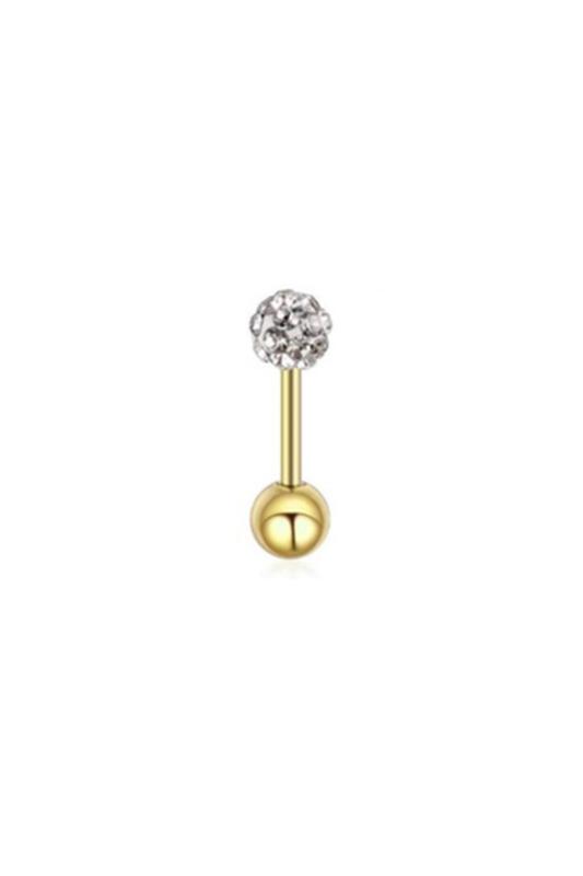 A & ONE Arany Színű Rozsdamentes Acél Gömb Alakú Piercing Apró Fehér Cirkónia Kövekkel, 6 mm
