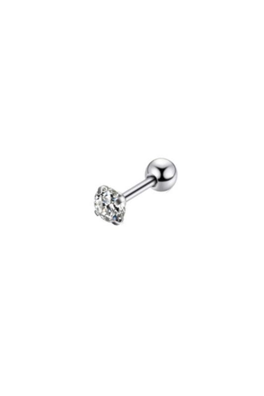 A & ONE Ezüst Színű Rozsdamentes Acél Gömb Alakú Piercing Fehér Cirkónia Kővel, 6 mm