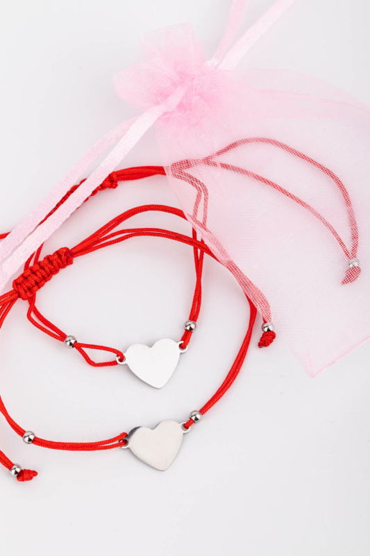 A & ONE Piros Fonal Karkötő Szett Ezüst Színű Teli Szív Medálokkal