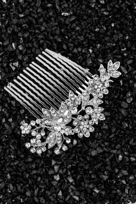 A & ONE Ezüst Strasszköves, Virágokkal Díszített Hajtű