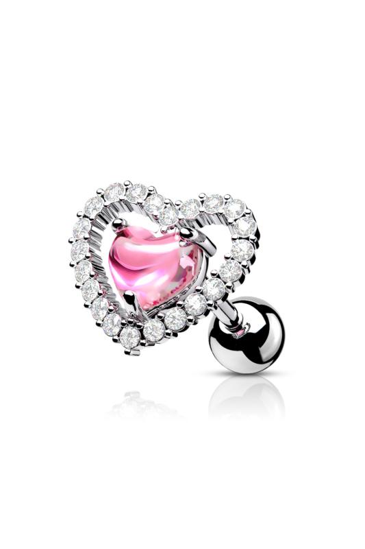 A & ONE Ródiumozott Orvosi Acél Ezüst Színű, Szívecskés Fül Piercing Fehér És Rózsaszín Cirkónia Kövekkel