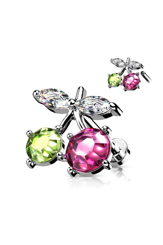 A & ONE Ródiumozott, Ezüst Színű Orvosi Acél, Cseresznye Alakú Zöld És Rózsaszín Piercing