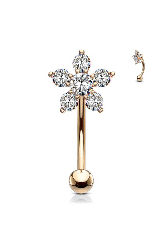 A & ONE 14 Karátos Arannyal Bevont, Rózsaarany Színű Orvosi Acél Piercing Cirkónia Köves Virág Díszítéssel