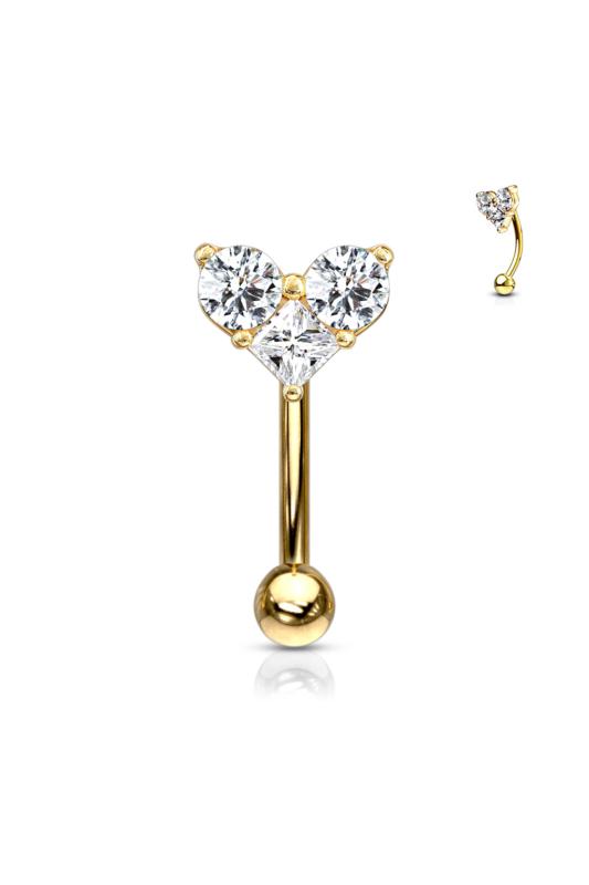 A & ONE 14 Karátos Arannyal Bevont, Arany Színű Orvosi Acél Piercing Cirkónia Kövekkel