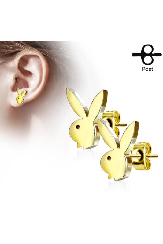 Playboy Nyuszis Arany Színű, Aranyozott Orvosi Acél Pici Fülbevaló
