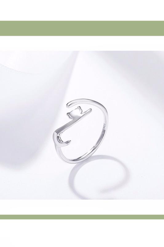 A & ONE Állítható S925 Ezüst Gyűrű, Cica Formában