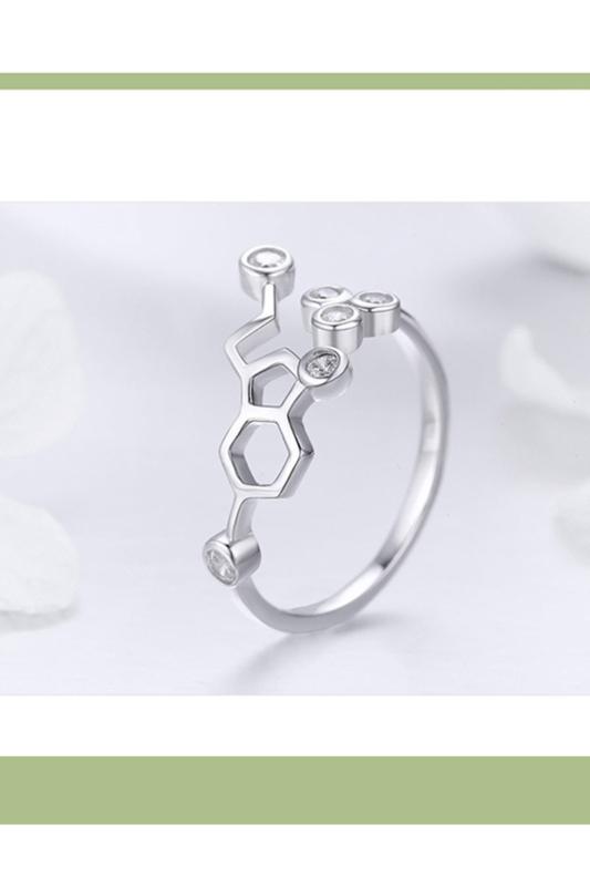 A & ONE Állítható Aranyozott S925 Ezüst, Molekula Alakú Gyűrű, Cirkónia Kövekkel