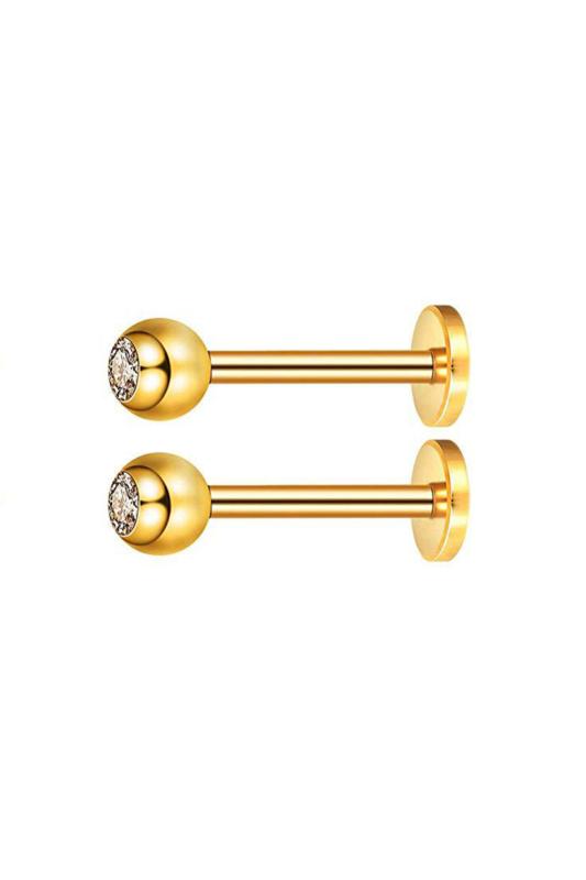 A & ONE 2 Darabos Arany Színű Orvosi Acél Gömb Alakú Piercing Szett Cirkónia Kővel