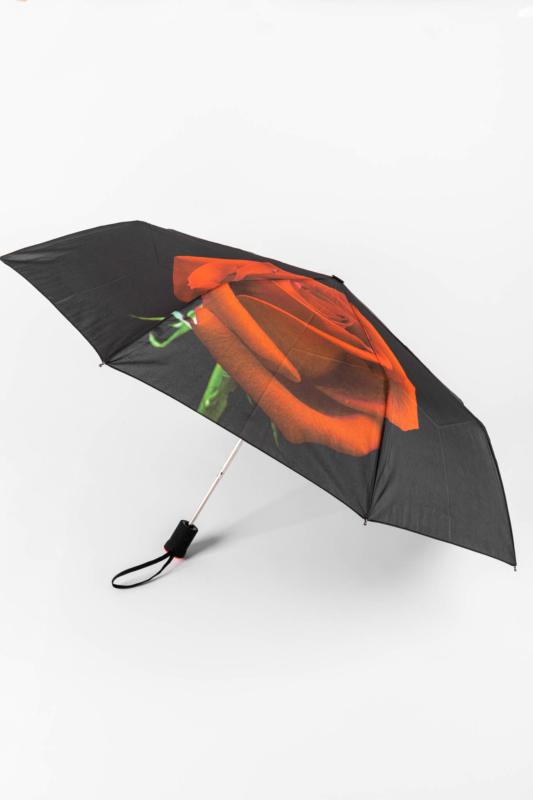 Fekete Alapon Piros Rózsa Mintás Automata Esernyő, 113 cm Átmérővel