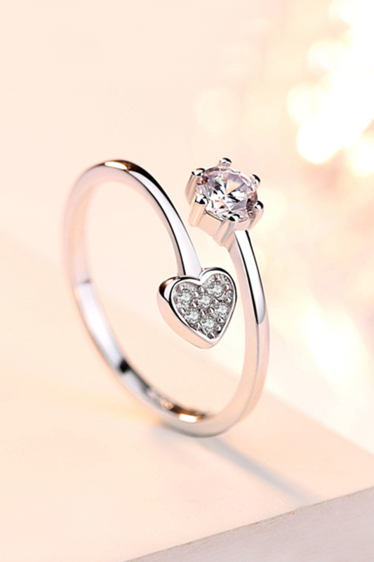 A & ONE Állítható, Szívecskével, Cirkónia Kövekkel Díszített, S925 Ezüst Gyűrű - Női