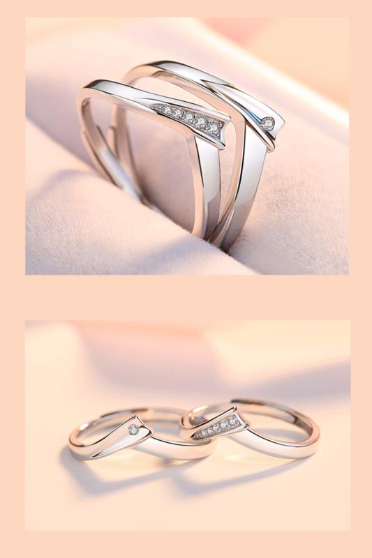 A & ONE Állítható, Cirkónia Kövekkel Díszített, Letisztult S925 Ezüst Gyűrű - Női