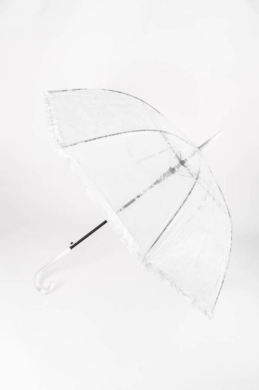 Fehér És Átlátszó Csipke Mintás, Fodros Szegélyű Bot Esernyő, 116 cm Átmérővel