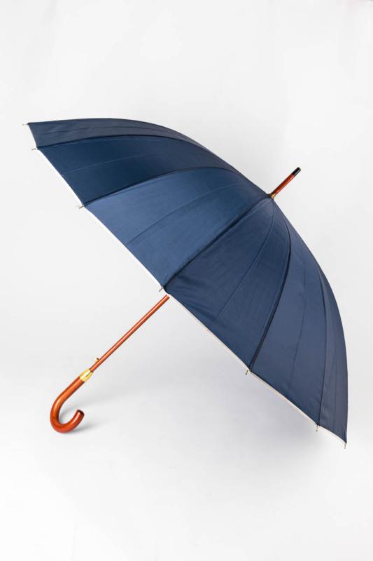 Sötétkék És Szürke Uniszex Fa Nyelű Bot Esernyő, 133 cm Átmérővel
