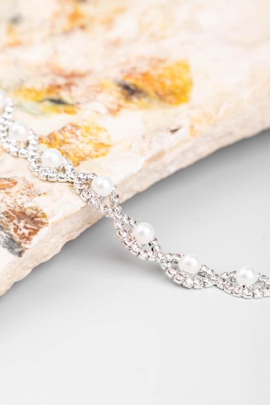 A & ONE Női Ezüst Színű Kövekkel És Gyönggyel Díszített Elegáns Női Karkötő