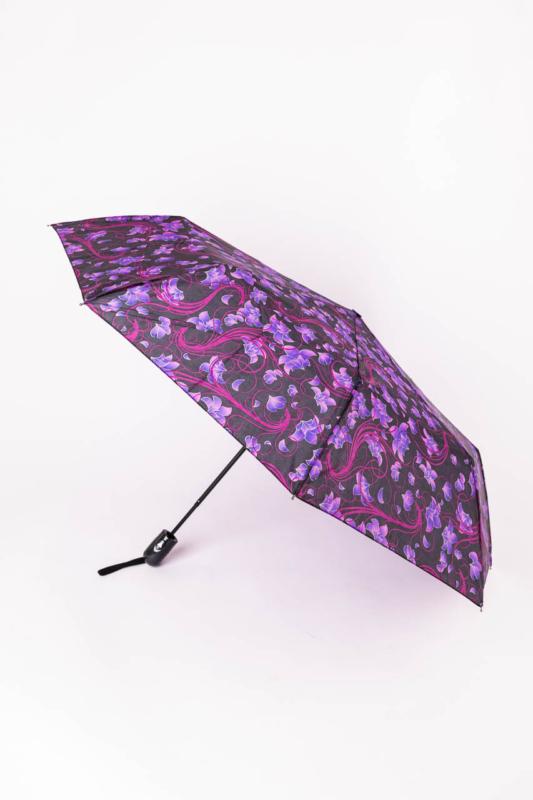 Fekete És Lila Színű Virágos Automata Esernyő, 105 cm Átmérővel