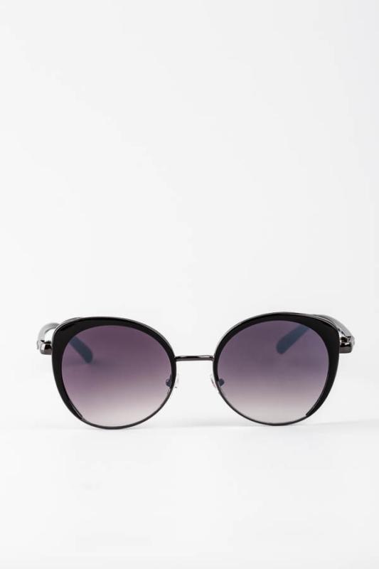 A & ONE Fekete Enyhén Cicás Szürkés Csillámos Díszítésű Különleges Napszemüveg