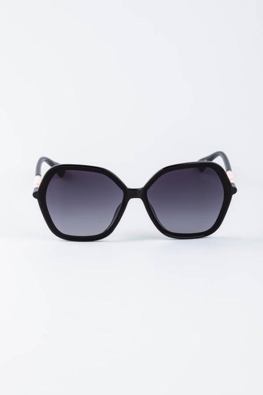 A & ONE Fekete Ívesen Szögletes Nagy Méretű Napszemüveg Rózsaszín Díszítéssel