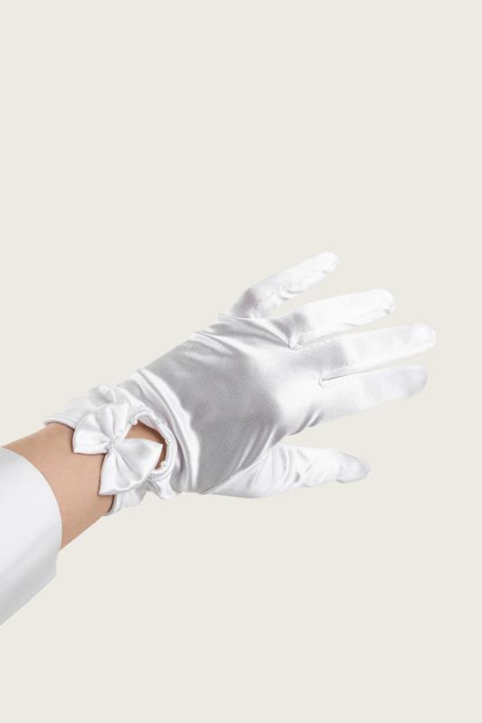 A & ONE Fehér  Alkalmi Szatén Kesztyű Masnis, Gyöngyös Díszítéssel