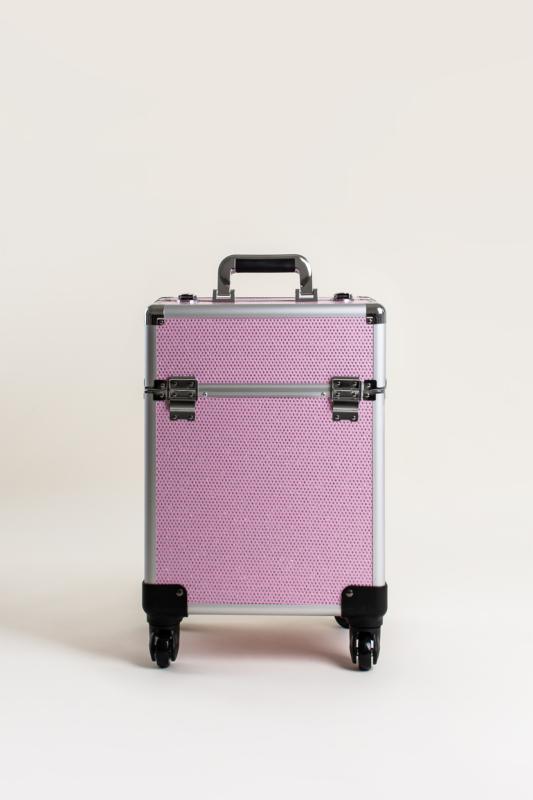 Rózsaszín Csillogós, Zárható Gurulós Sminkes Bőrönd Kinyitható Rekeszekkel