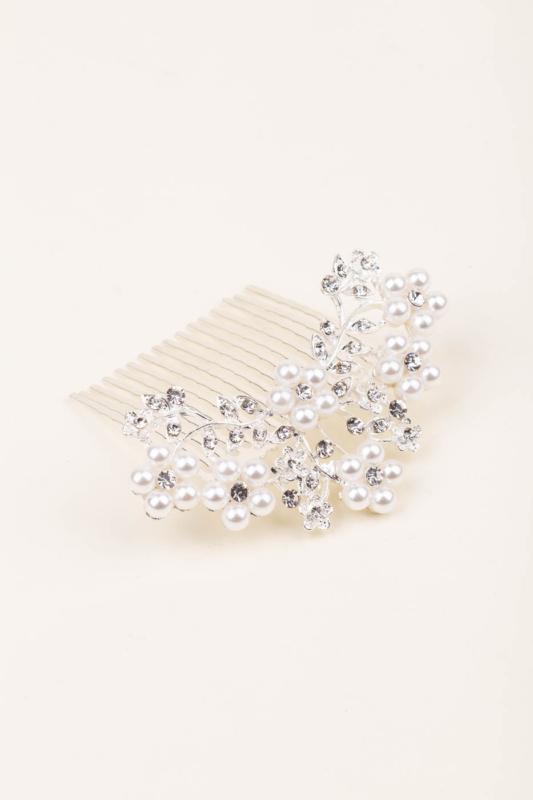 A & ONE Gyöngyből Kirakott Virágokkal És Strasszkövekkel Díszített Ezüst Színű Nikkelmentes Fém Hajtű