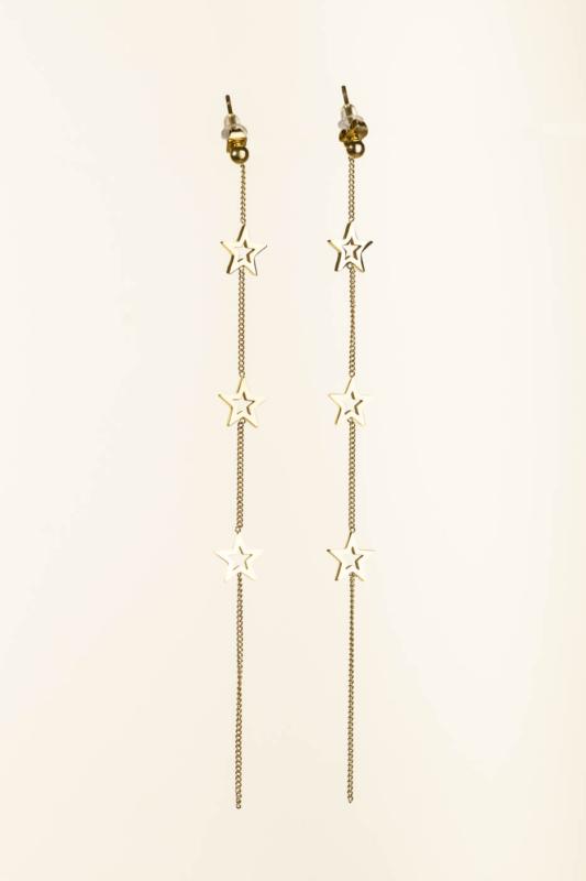 A & ONE Arany Színű Titániumból Készült Lógós Fülbevaló, Csillagokkal Díszítve