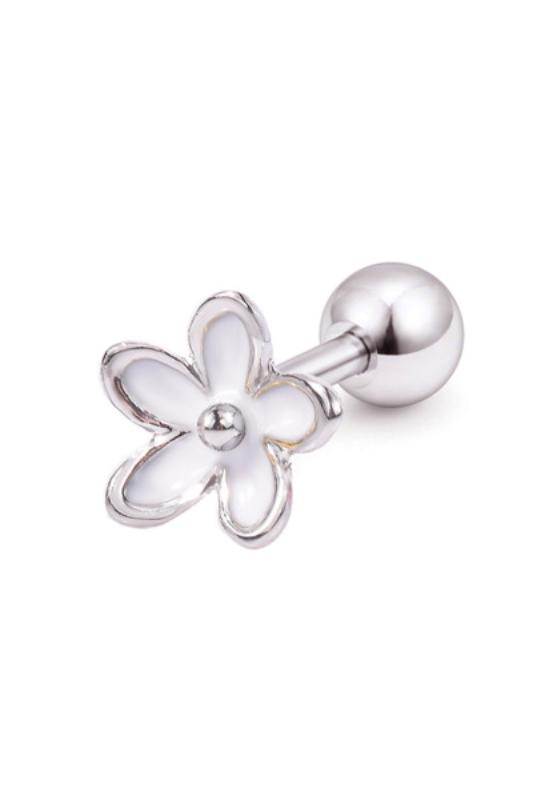 A & ONE Ezüst Színű, Fehér Virágos Rozsdamentes Acél Fül Piercing