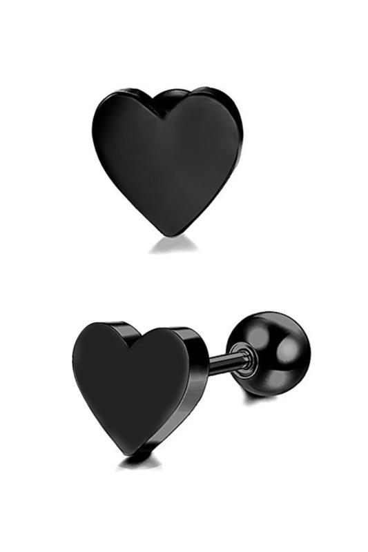 A & ONE Fekete Színű, Rozsdamentes Acél Szív Alakú Fül Piercing, 6,5 mm
