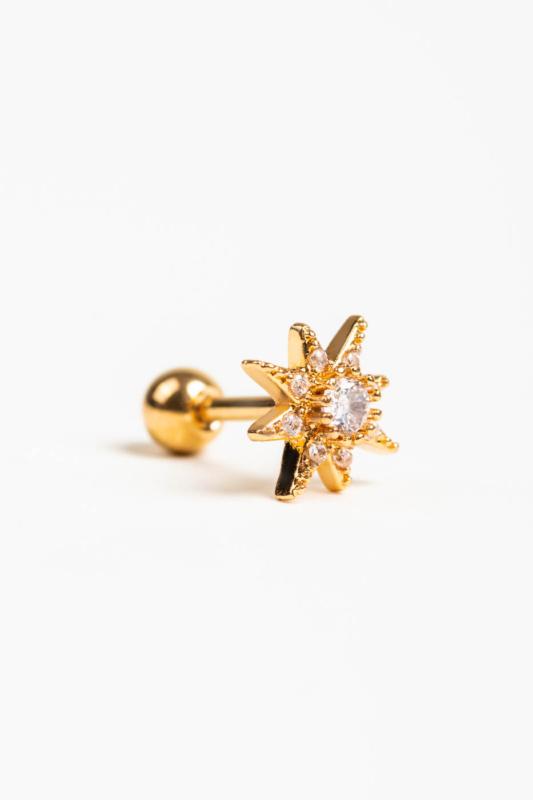 A & ONE Arany Színű Rozsdamentes Acél, Csillag Alakú Cirkónia Köves Egyenesszárú Piercing