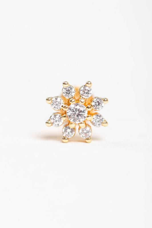 A & ONE Arany Színű Rozsdamentes Acél, Virág Alakú Cirkónia Köves Egyenesszárú Piercing
