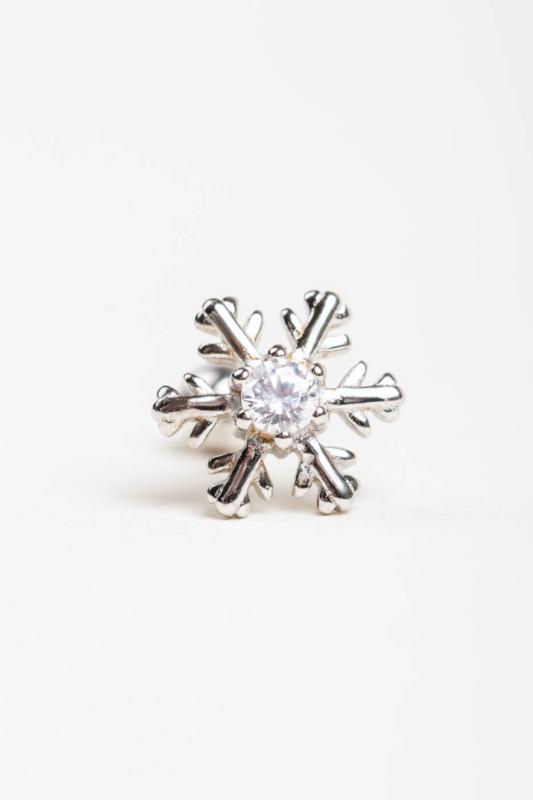 A & ONE Ezüst Színű, S925 Ezüst Hópehely Alakú Cirkónia Köves Egyenesszárú Piercing