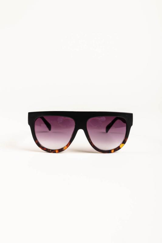 A & ONE Matt Fekete És Barna Mintás Műanyag Keretes Napszemüveg