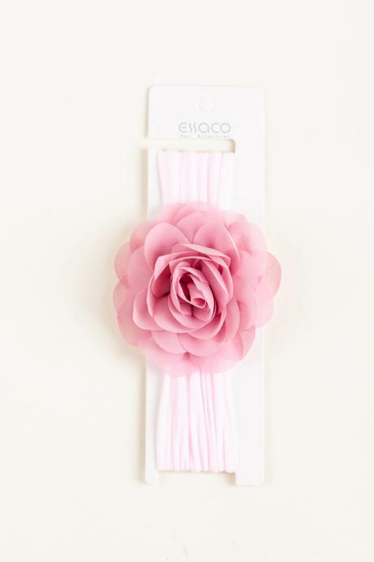 A & ONE Világos Rózsaszín Rugalmas Baba Hajpánt Virág Dísszel