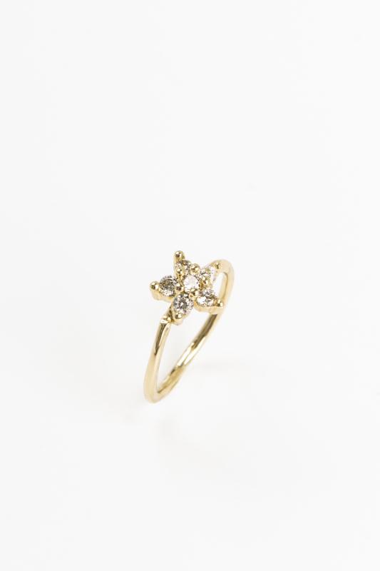 A & ONE Arany Színű, Rézből Készült Pici Karika Piercing Csillag Díszítéssel, Cirkónia Kövekkel