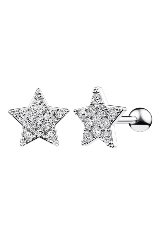 A & ONE Ezüst Színű Rozsdamentes Acél Csillag Alakú Egyenesszárú Piercing Cirkónia Kövekkel
