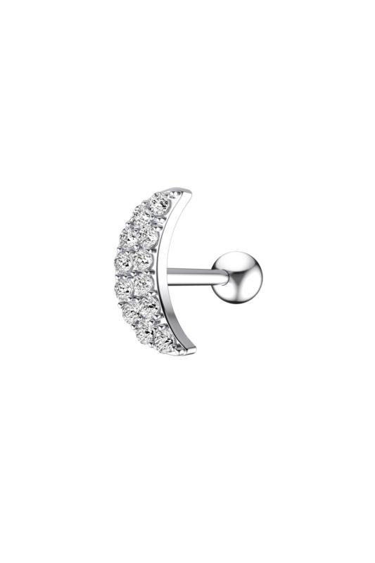 A & ONE Ezüst Színű Rozsdamentes Acél Hold Alakú Egyenes Piercing Cirkónia Kővel