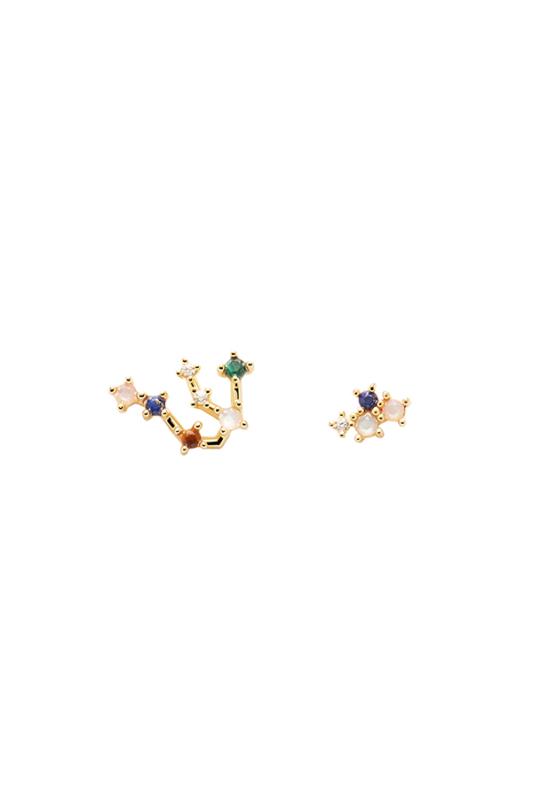 PDPAOLA Aranyozott S925 Ezüst Horoszkópos Fülbevaló Kristályokkal - Vízöntő