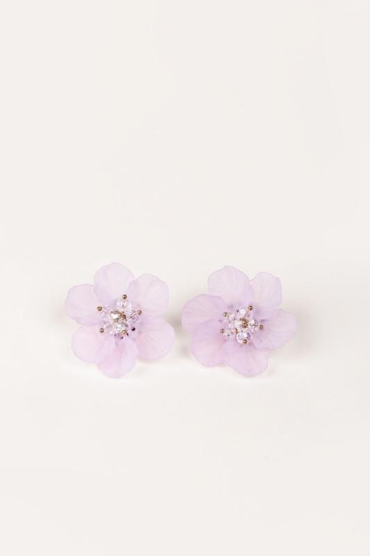 A & ONE Extravagáns Lila Nagy Méretű Virág Alakú Bedugós Fülbevaló