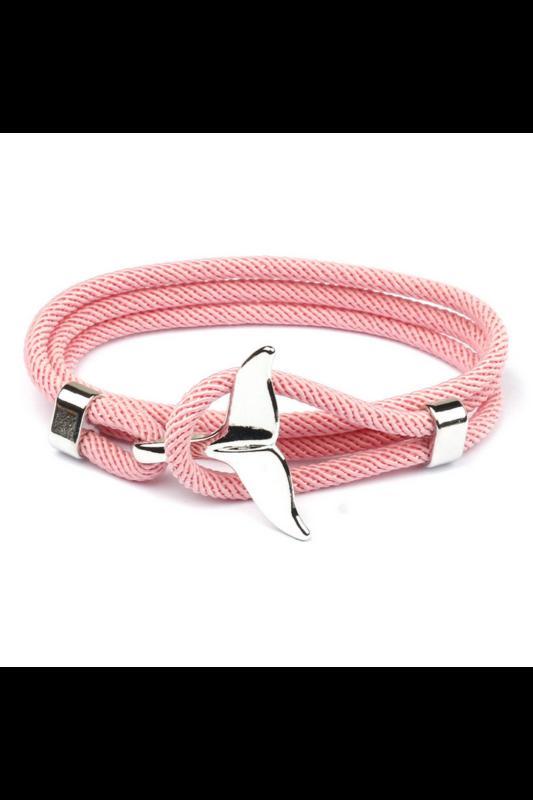 A & ONE Rózsaszín Kötélből Készült Karkötő Ezüst Színű Uszony Díszítéssel