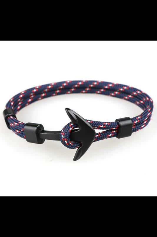 A & ONE Kék-Piros Kötélből Készült Karkötő Fekete Horgony Díszítéssel
